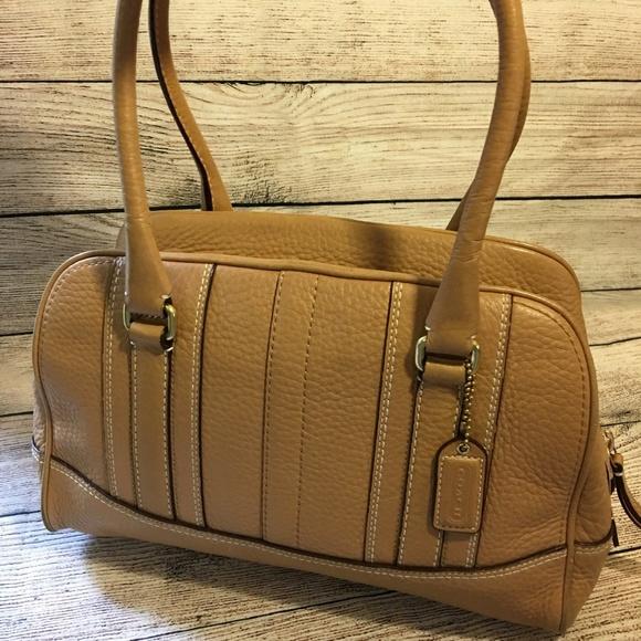 Coach Handbags - COACH Light Camel Pebbled Leather HAMILTON Satchel